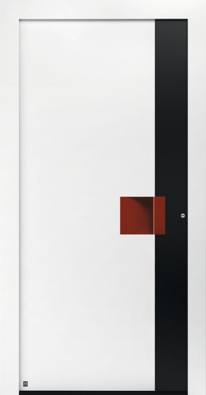 Motiv 301 Thermo Carbon in Verkehrsweiß matt, RAL 9016, Aluminium-Applikation in Graphitschwarz matt RAL 9011, Griffleiste und Griffmulde in Rubinrot matt,RAL 3003