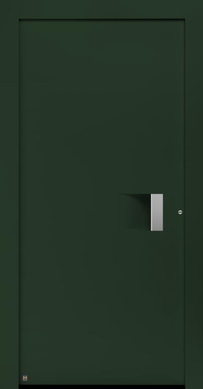 Motiv 300 Thermo Carbon, in Vorzugsfarbton Tannengrün matt, RAL 6009, Griffleiste in Weißaluminium RAL 9006, Griffmulde in Türfarbe