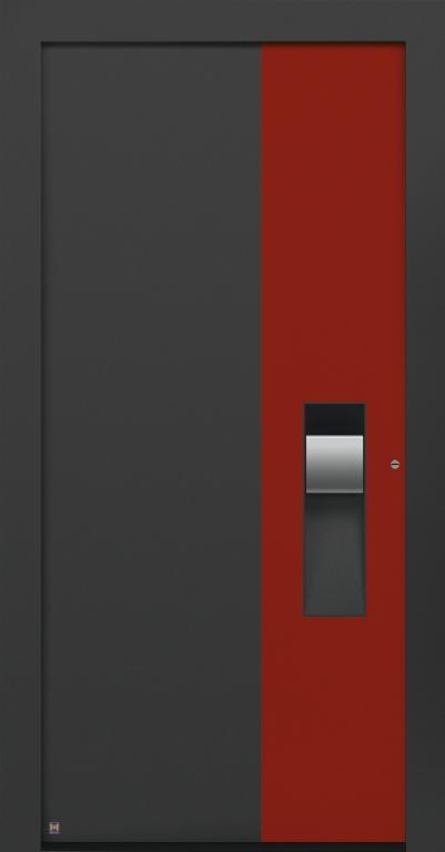 motiv 305 Thermo Carbon in CH703 Anthrazit, strukturiert, Aluminium-Applikation in Vorzugsfarbe Rubinrot matt, RAL 3003, Griff in Edelstahl, Griffmulde in Türfarbe