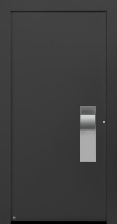Motiv 304 in CH 703 Anthrazitgrau, strukturiert, Griff in Edelstahl, Griffmulde in Vorzugsfarbe Weißaluminium seidenglänzend, RAL 9006