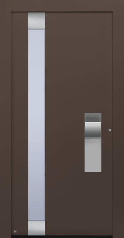 Motiv 306 Thermo Carbon, in CH 607 Maronefarben, strukturiert, Griff in Edelstahl, Griffmulde in Vorzugsfarbe Weißaluminium seidenglänzend, RAL 9006