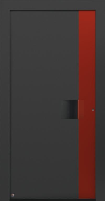 Motiv 301 Thermo Carbon in CH 703 Anthrazitgrau, strukturiert, Aluminium-Applikation in Vorzugsfarbton Rubinrot matt, RAL 3003, Griffleiste in Vorzugsfarbton Rubinrot matt, RAL 3003, Griffmulde in Türfarbe