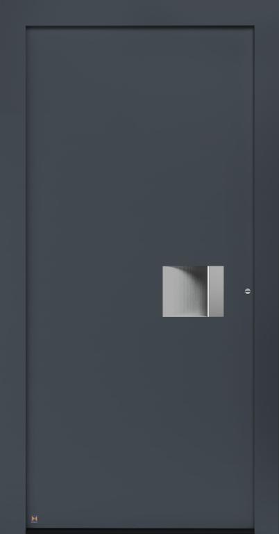Motiv 300 Thermo Carbon, in Vorzugsfarbton Schiefergrau matt, RAL 7015, Griffleiste und Griffmulde in Weißaluminium RAL 9006