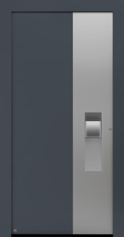 Motiv 305 Thermo Carbon in CH703 Anthrazit, strukturiert, Aluminium-Applikation in Vorzugsfarbe Weißaluminium seidenglänzend, RAL 9006, Griff in Edelstahl, Griffmulde in Vorzugsfarbton Weißalumium seidenglänzend, RAL 9006