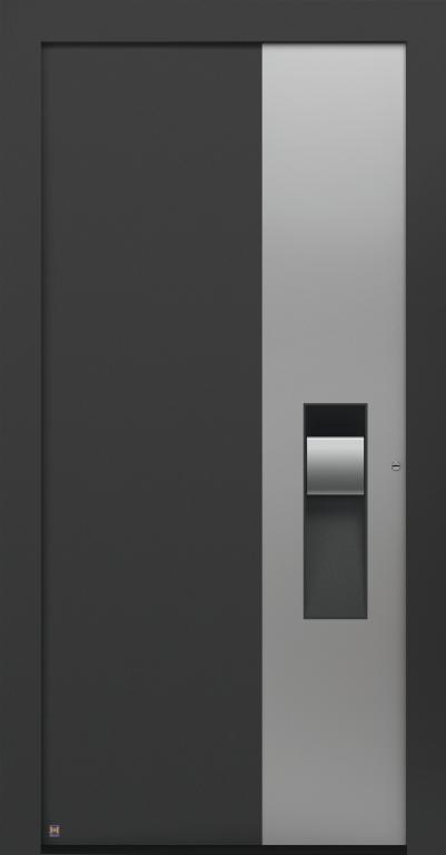 Motiv 305 Thermo Carbon in CH703 Anthrazit, strukturiert, Aluminium-Applikation in Vorzugsfarbe Weißaluminium seidenglänzend, RAL 9006, Griff in Edelstahl, Griffmulde in Türfarbe