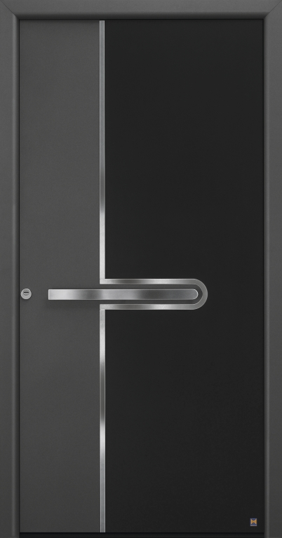 Motiv 585 Thermo Safe in Farbton 703 Anthrazit, strukturiert und Aluminium-Applikation in Graphitschwarz RAL 9011, mit Blendrahmen Rondo 70