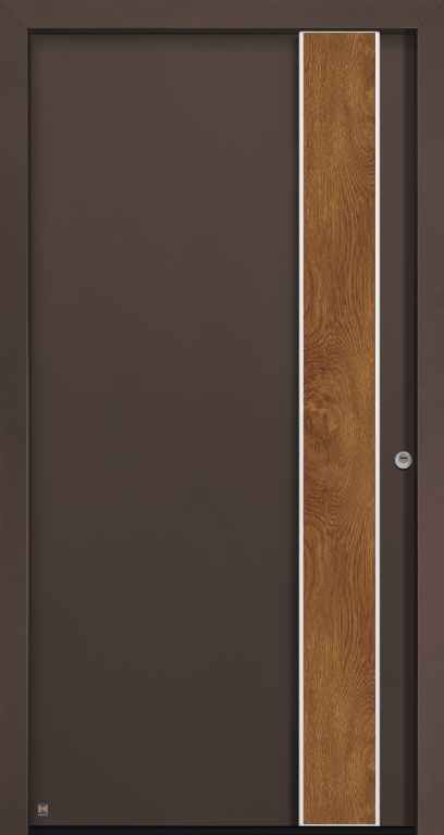 Motiv 565 Thermo Safe in Farbton CH 607 Marone strukturiert,Designplus-Griff G760 in Aluminium eloxiert E6/EV1, Griffapplikation in Decograin GoldenOak, mit Blendrahmen Caro
